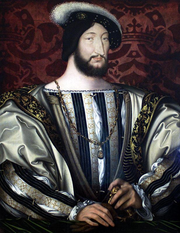 Francois I (waarschijnlijk ca. 1525 geportretteerd door Clouet) in hoofse, maniëristische stijl, draagt een bovenkleed (doublet), waarbij langs de boothals, op de borst en bij de manchetten zicht op het shirt wordt geboden, doordat het hemd niet alleen onder en boven de doublet uitpiept, maar ook nog door de inkervingen puilt. De rijkdom van het shirt treedt naar buiten.