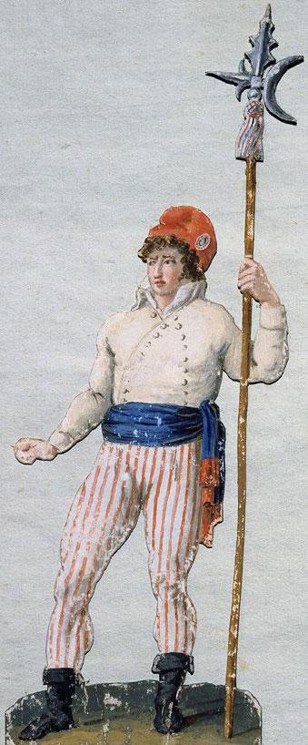 Ten tijde van de Franse Revolutie had kleding een sterke politieke uitstraling. Koningsgezinden hielden zich aan de kleuren van Huize Bourbon (wit) en van Artois (groen) en bleven de kniebroek of culotte dragen. Revolutionairen tooiden zich met rood-wit-blauwe cocarde en de omgeslagen muts van galeislaven en matrozen, een boerenjasje en een opengeslagen arbeidershemd (waarin soms een rommelig geknoopte halsdoek). Zij droegen de rechte arbeidersbroek en werden daarom 'sans-culotten' genoemd (sans = zonder). Het geheel oogde alsof men nèt van de barricade terugkwam.